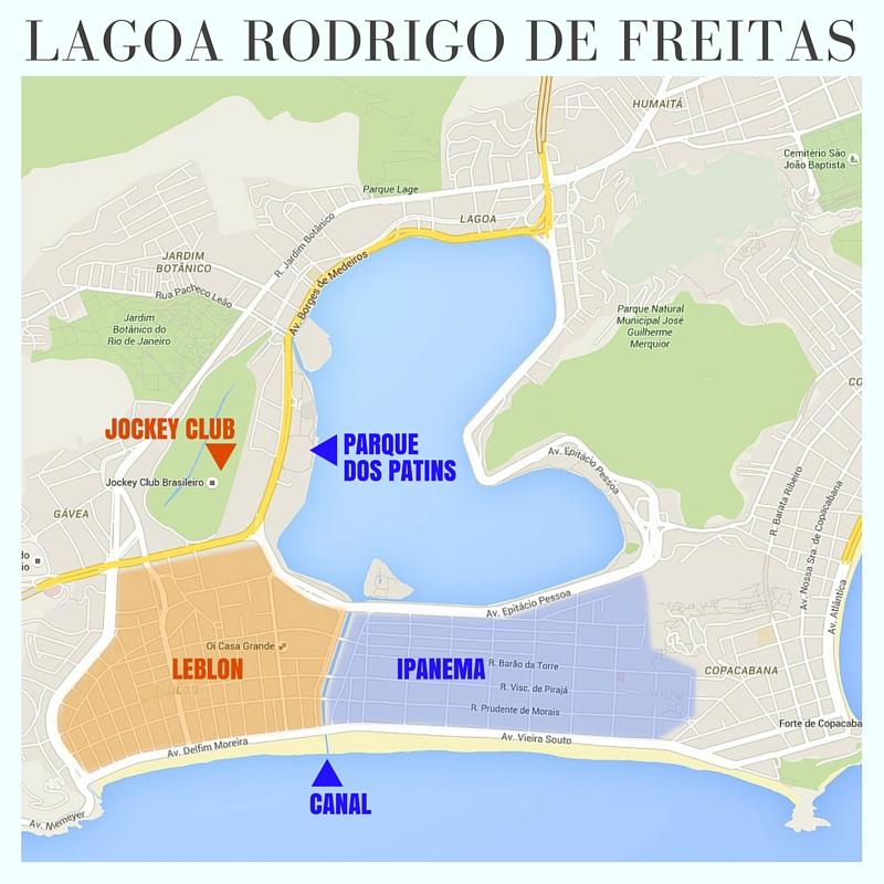 Mapa Lagoa Rodrigo de Freitas